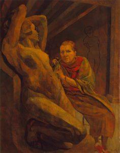(Yvonne Serruys Sculpting Statue)