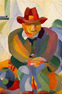 (Seated Man Wearing Hat)