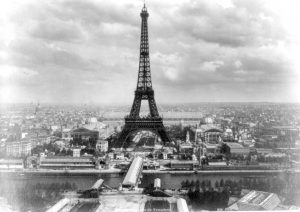 View-of-the-Eiffel-tower-Exposition-Universelle-Champs-de-Mars-with-Seine-Pont-dIena-Paris-city-photo-from-French-hot-air-balloon-Trocadero-6-May-1889-grand-opening-day-black-white-france